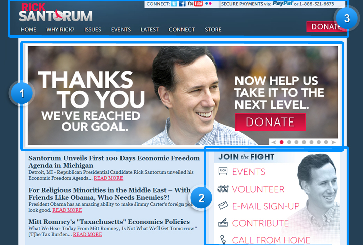 Rick Santorum 2012 - Website